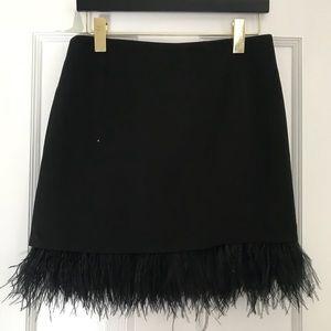 JOA Black Feather Hem Mini Skirt